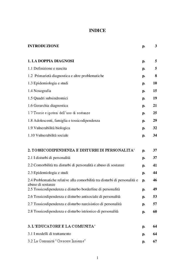 Indice della tesi: Comorbilità psichiatria, disturbi di personalità e ruolo dell'educatore professionale, Pagina 1
