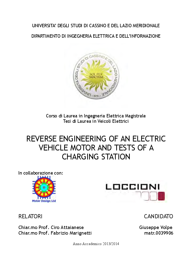 Anteprima della tesi: Reverse Engineering of an Electric Vehicle Motor and Tests of a Charging Station, Pagina 1