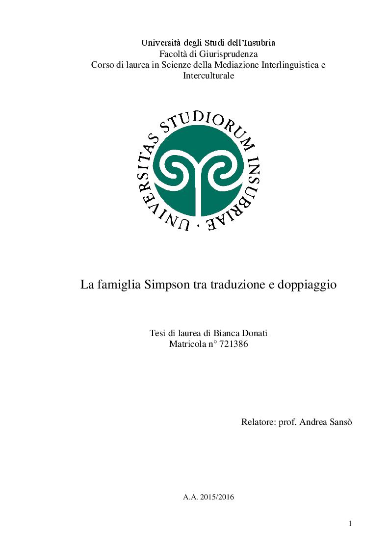 Anteprima della tesi: La famiglia Simpson tra traduzione e doppiaggio, Pagina 1
