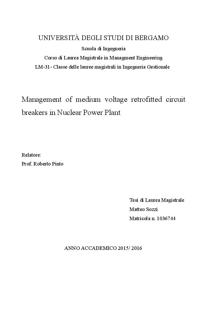 Anteprima della tesi: Management of medium voltage retrofitted circuit breakers in Nuclear Power Plant, Pagina 1