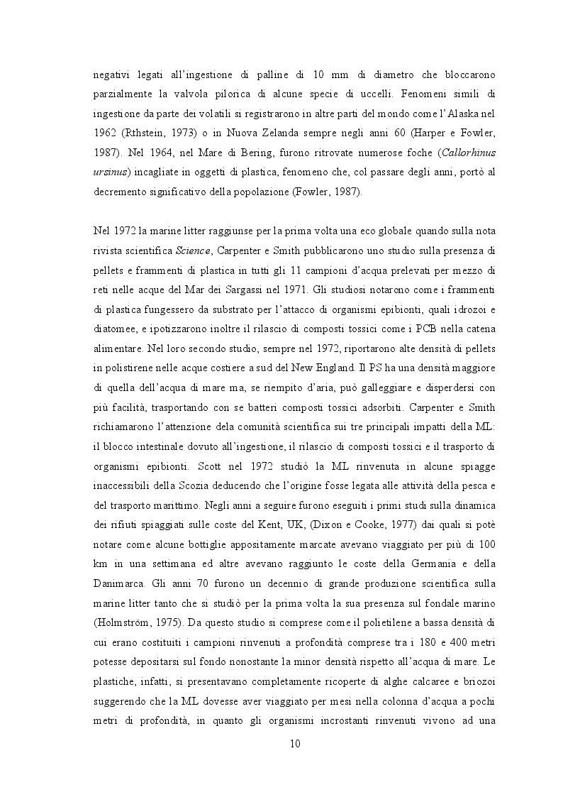Estratto dalla tesi: Marine Strategy: Descrittore 10 - Rifiuti Marini. Quantificazione di microplastiche nella specie sentinella Mullus barbatus