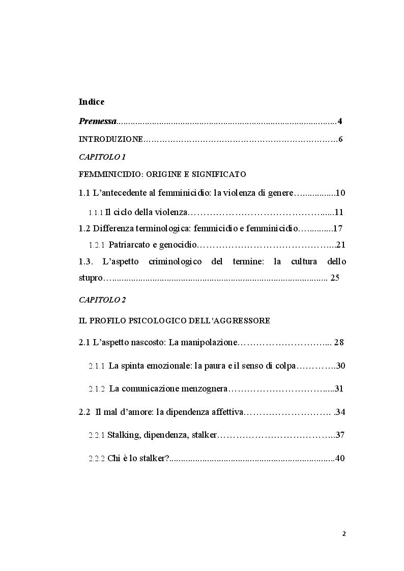 Indice della tesi: La perizia psichiatrica nell'autore di femminicidio, Pagina 1