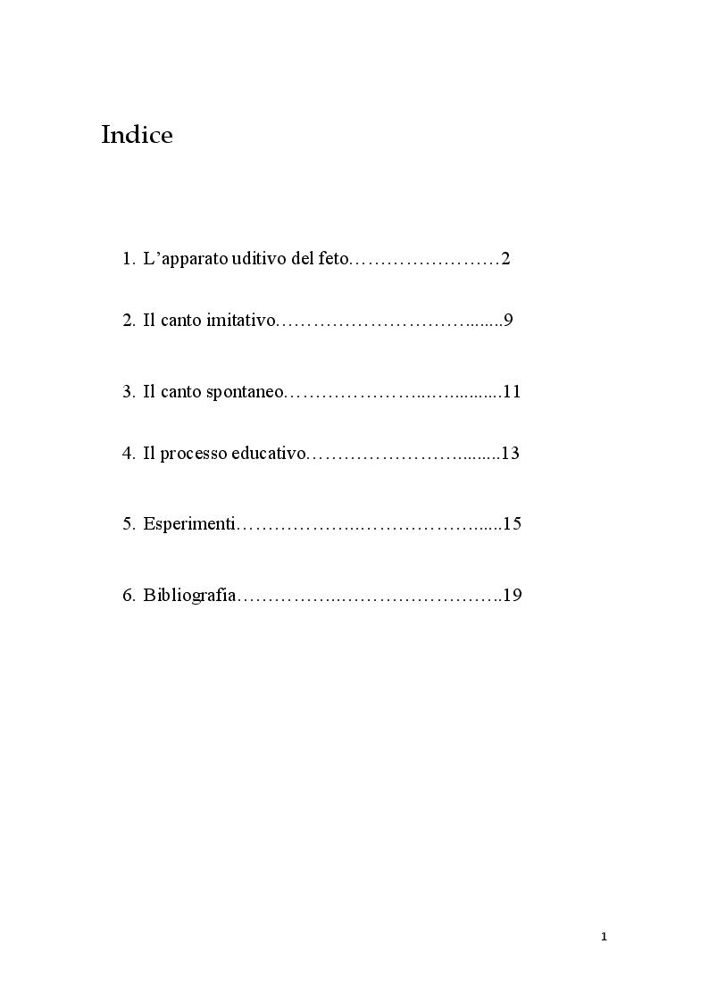 Indice della tesi: La musica dal periodo prenatale ai primi anni di vita, Pagina 1
