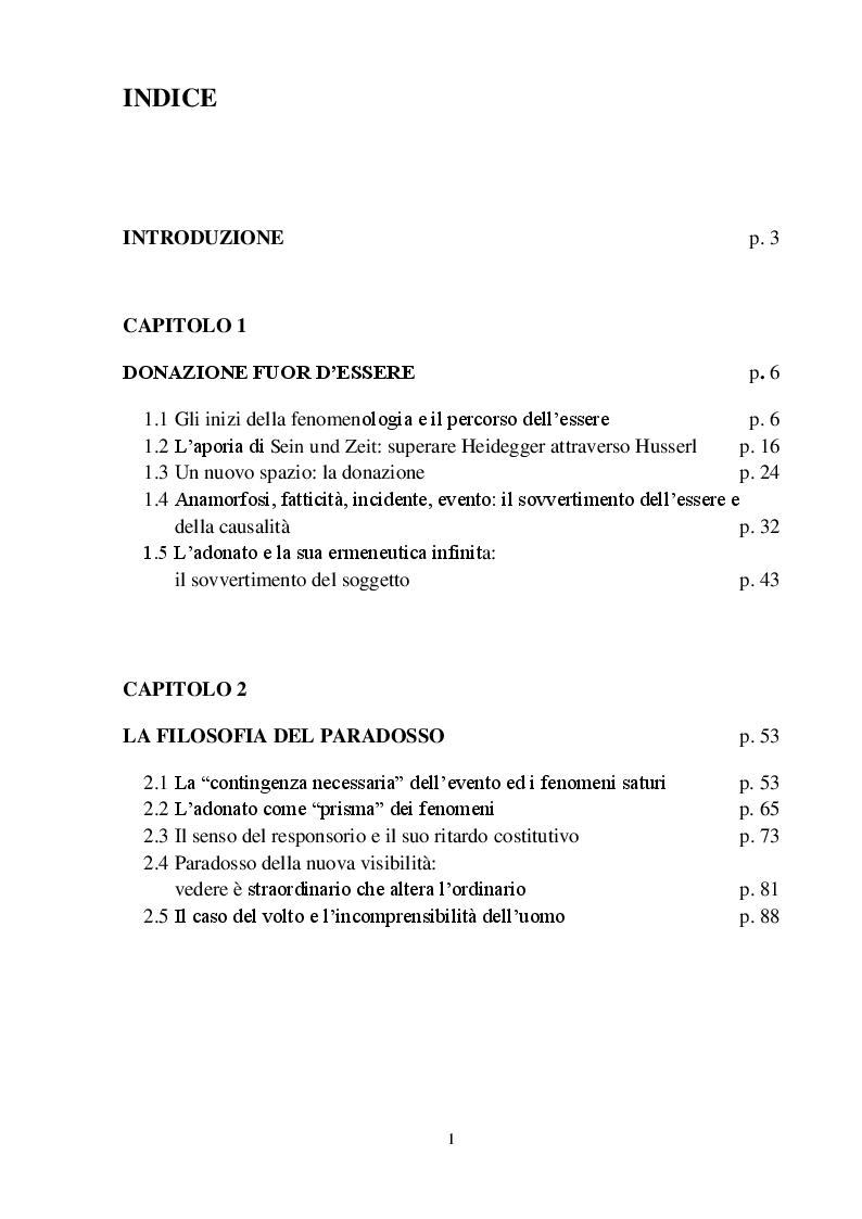 Indice della tesi: La fenomenologia della donazione di Jean-Luc Marion: il paradosso come norma dell'apparire, l'altrove come luogo del sé., Pagina 1