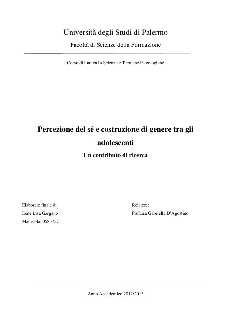 Anteprima della tesi: Percezione del sé e costruzione di genere tra gli adolescenti. Un contributo di ricerca , Pagina 1
