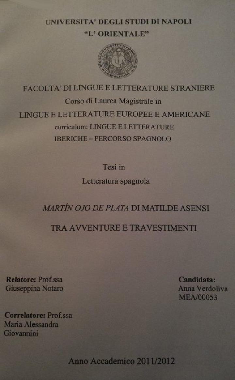 """Anteprima della tesi: """"Martin Ojo De Plata"""" di Matilde Asensi - Tra avventure e travestimenti, Pagina 1"""