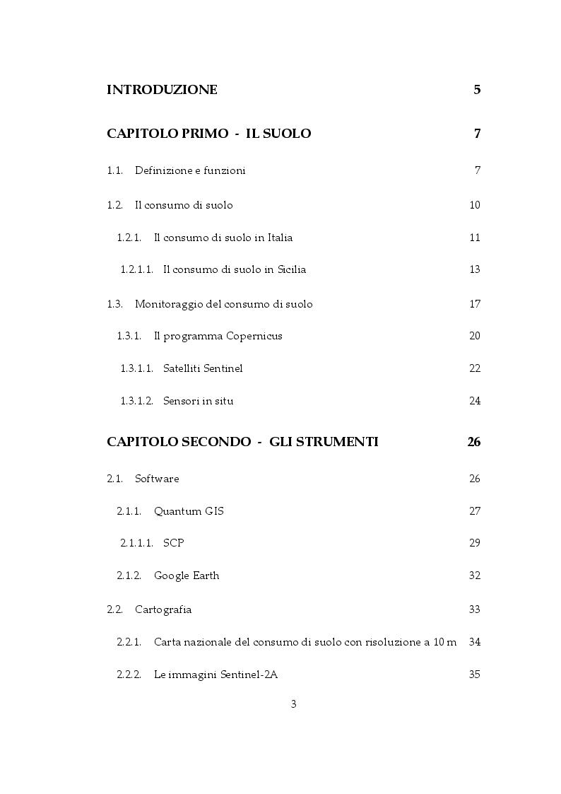 Indice della tesi: Classificazione semi-automatica del consumo di suolo nella Provincia di Trapani, Pagina 1