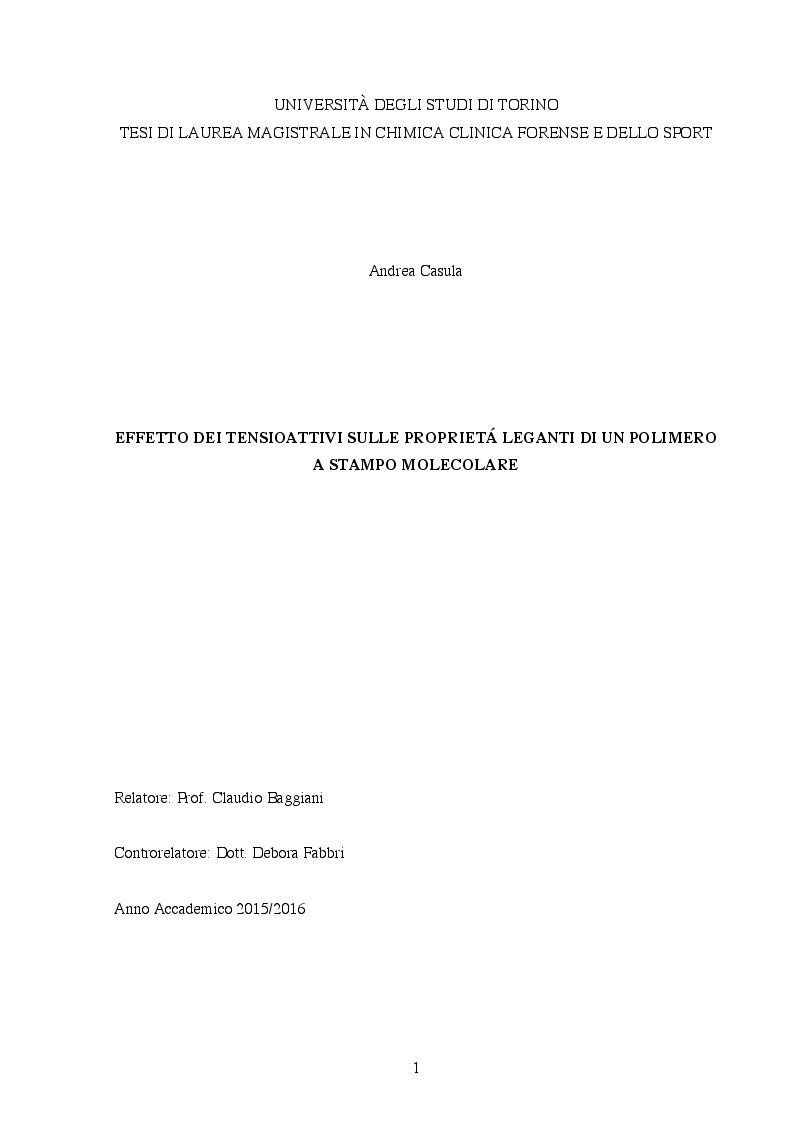 Anteprima della tesi: Effetto dei tensioattivi sulle proprietà leganti di un polimero a stampo molecolare, Pagina 1