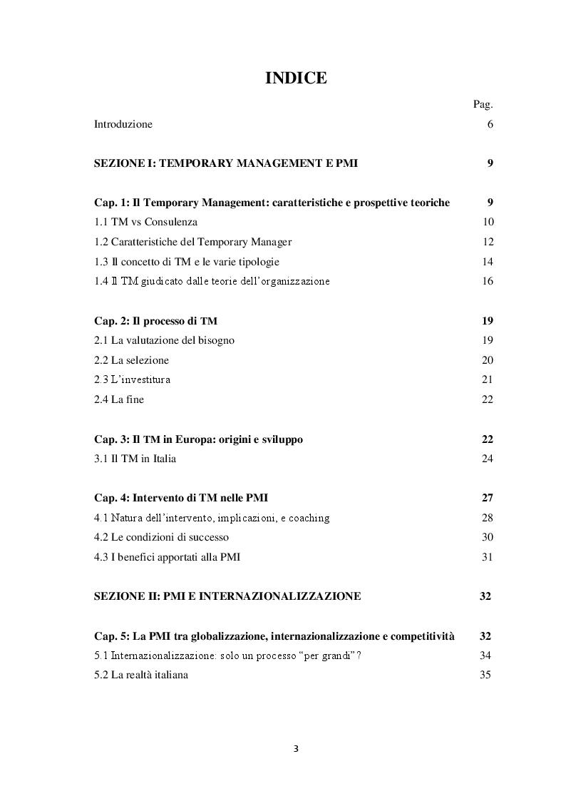 Indice della tesi: Temporary Management a supporto della strategia di internazionalizzazione delle PMI. Una Survey su un campione di aziende italiane, Pagina 1