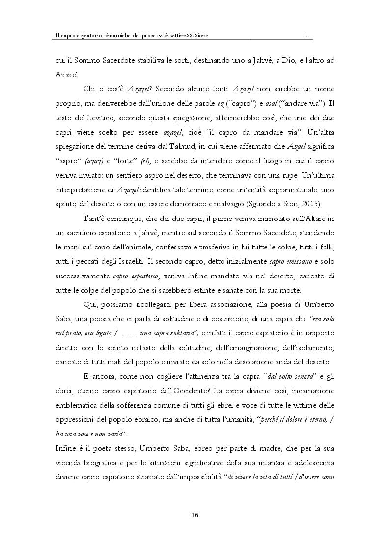 Estratto dalla tesi: Il capro espiatorio: dinamiche dei processi di vittimizzazione