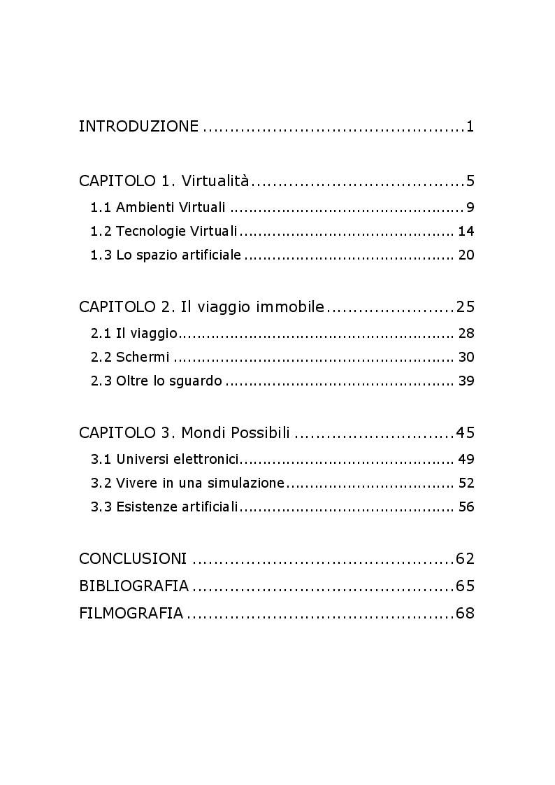 Indice della tesi: Il viaggio immobile: corpi, schermi e realtà virtuali, Pagina 1