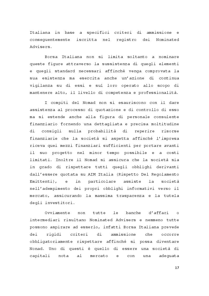 Estratto dalla tesi: Il Mercato AIM Italia