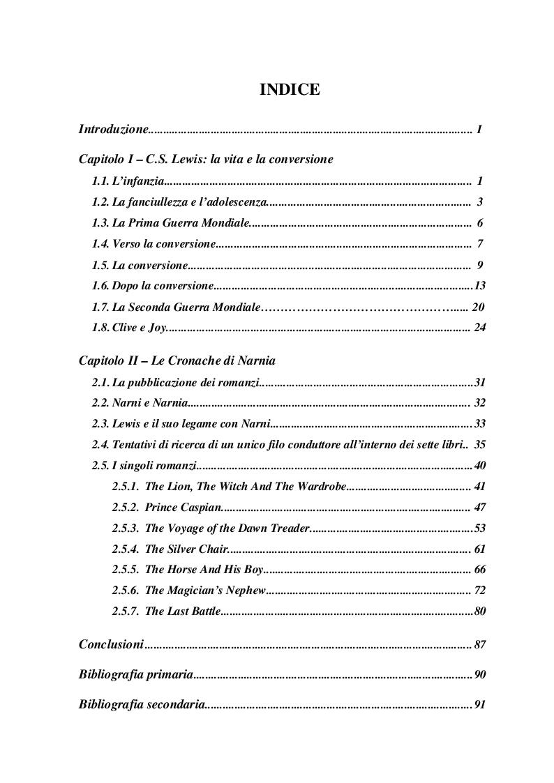Indice della tesi: La religiosità di C.S. Lewis in ''The Narnia Chronicles'', Pagina 1