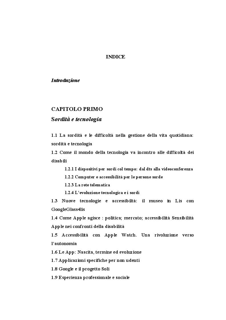 Indice della tesi: Indagini di mercato sull'impatto delle app innovative per non udenti: miglioramenti ed accessibilità, Pagina 1