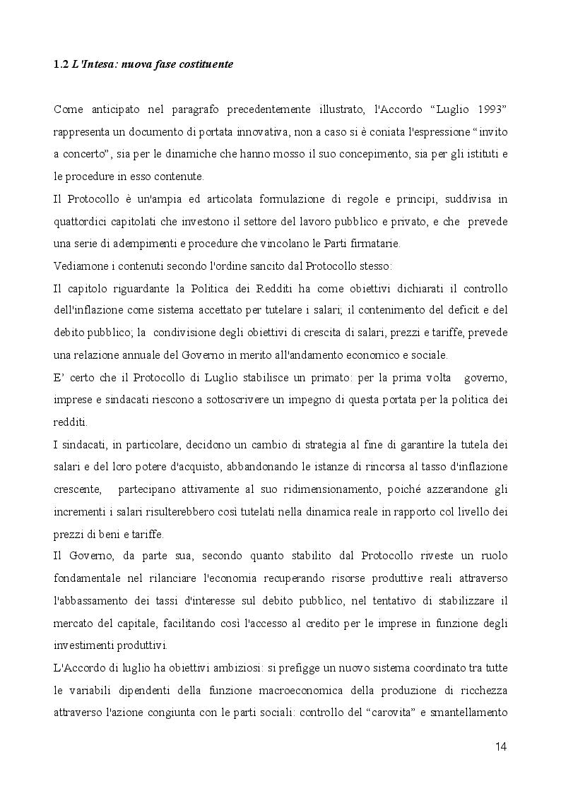 Estratto dalla tesi: Le Regole della Contrattazione Collettiva. Percorsi della Concertazione Sociale: 1993-2014