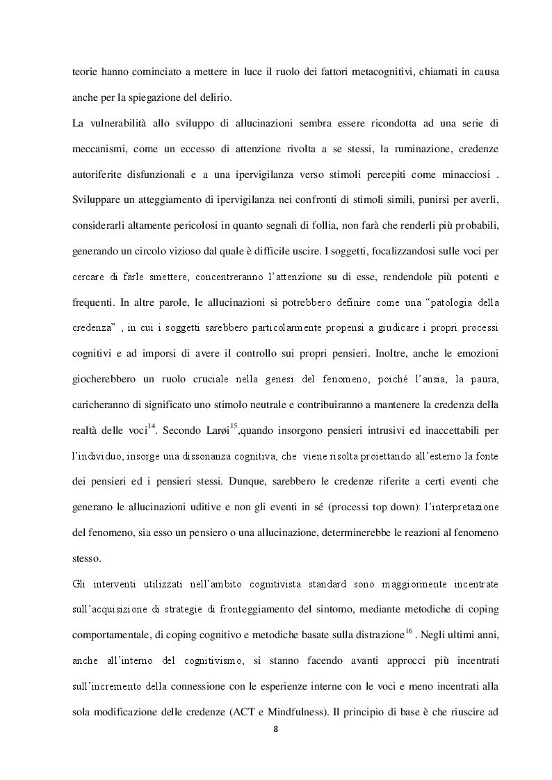 Estratto dalla tesi: Le Allucinazioni Uditive: aspetti teorici e l'esperienza di un gruppo di auto mutuo aiuto in un CSM Romano