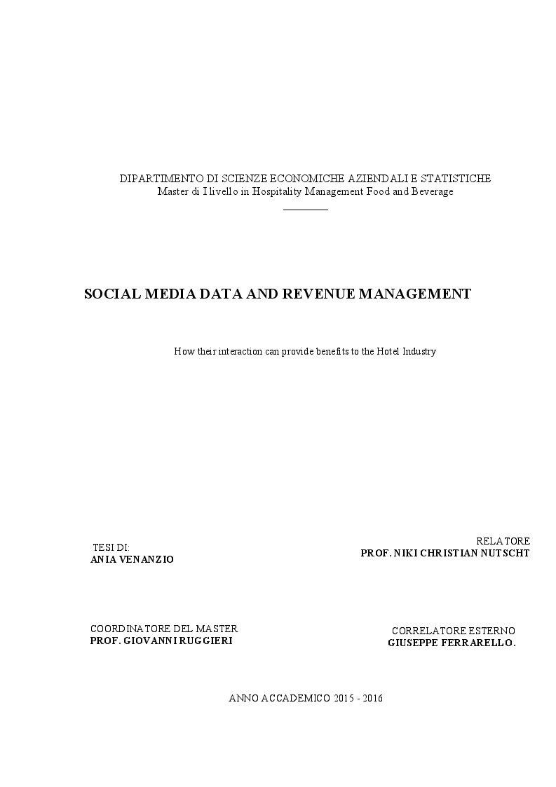 Anteprima della tesi: Social Media Data and Revenue Management. How their interaction can provide benefits to the Hotel Industry, Pagina 1