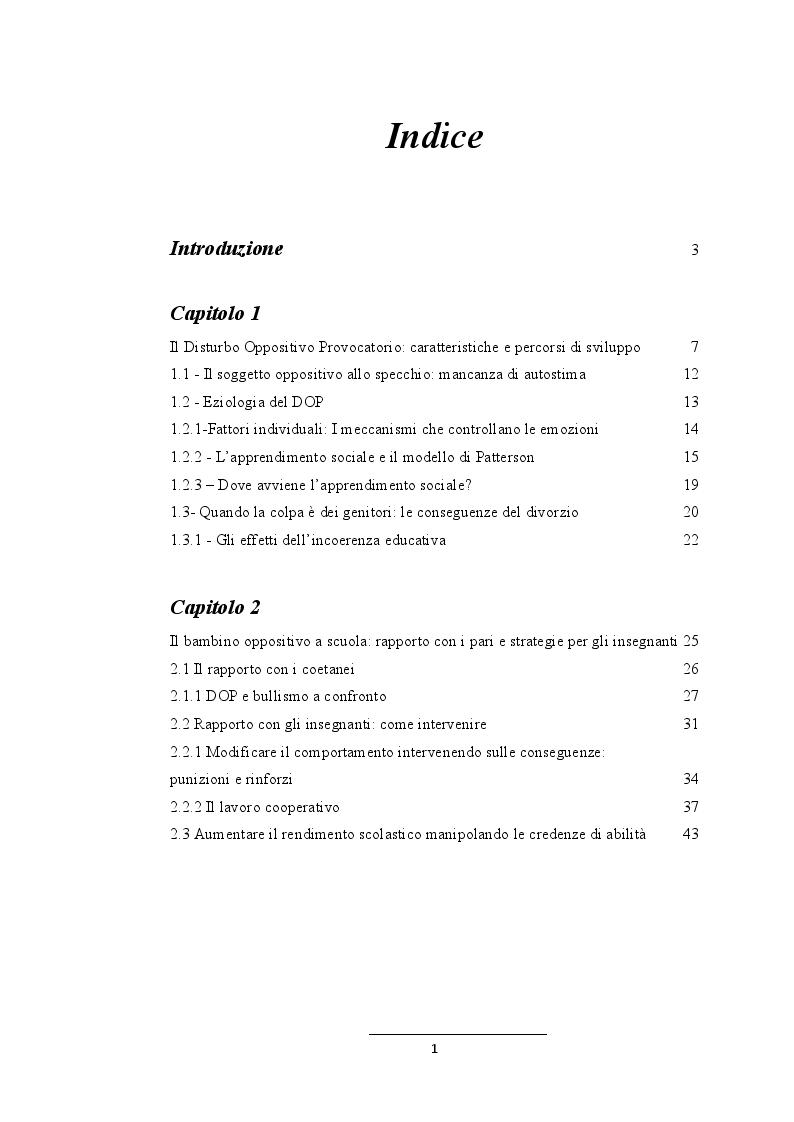 Indice della tesi: I comportamenti aggressivi nella prima infanzia: diagnosi e intervento del disturbo oppositivo provocatorio, Pagina 1