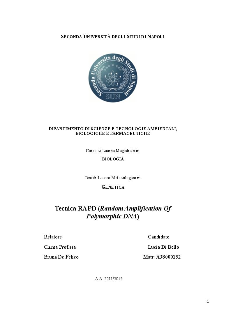 Anteprima della tesi: Tecnica RAPD (Random Amplification Of Polymorphic DNA), Pagina 1
