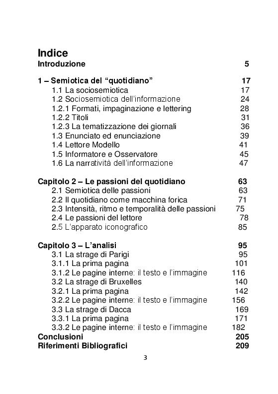 Indice della tesi: Le stragi di Parigi, Bruxelles e Dacca. Un'analisi semiotica, Pagina 1