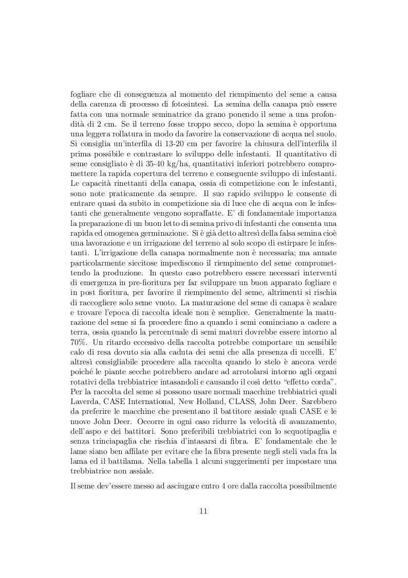 Estratto dalla tesi: La coltivazione della canapa in Italia problematiche e prospettive