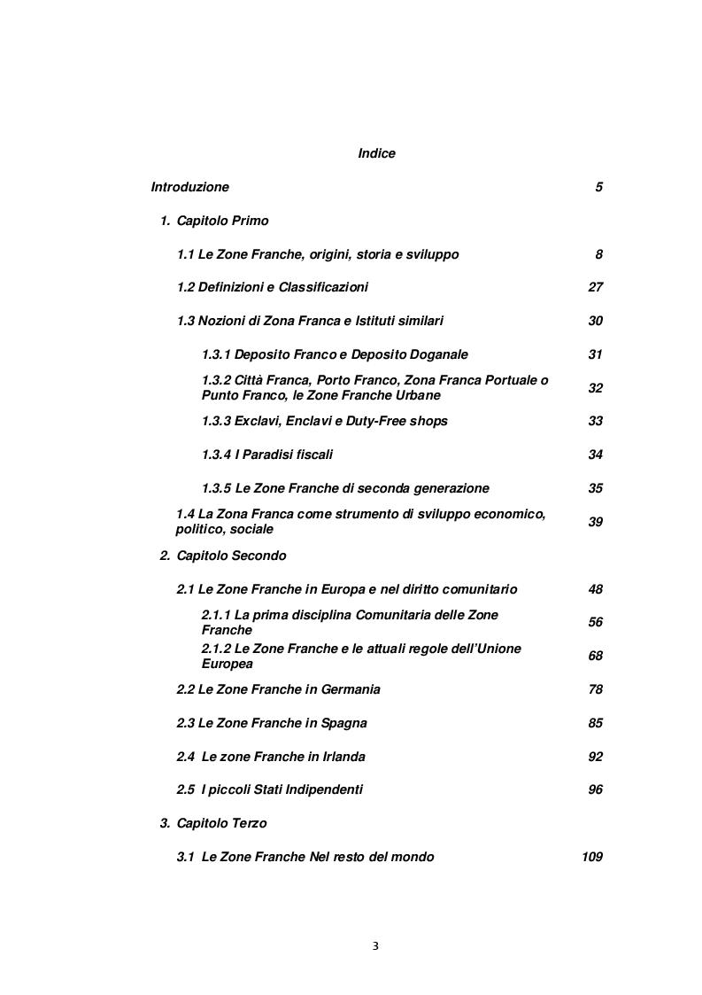 Indice della tesi: La zona franca. Strumento e opportunità di sviluppo economico, Pagina 1