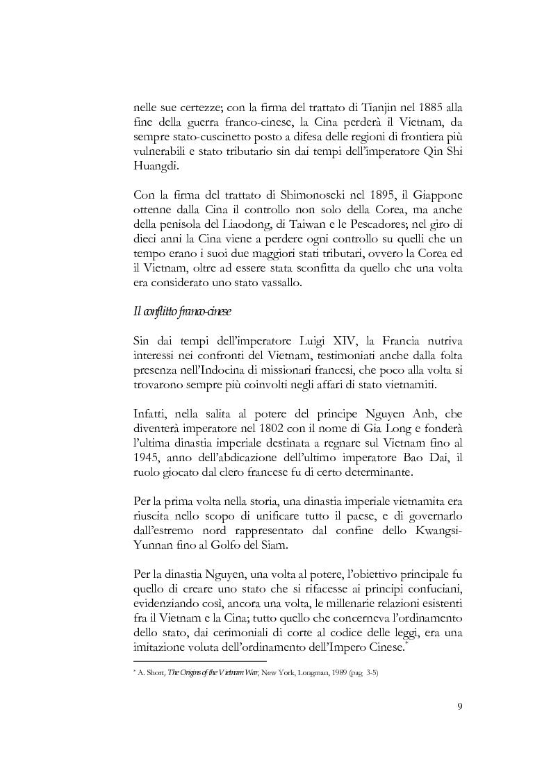 Anteprima della tesi: Relazioni fra Vietnam e Cina dal 1884 al 1954; dalla guerra franco-cinese alla Conferenza di Ginevra, Pagina 8