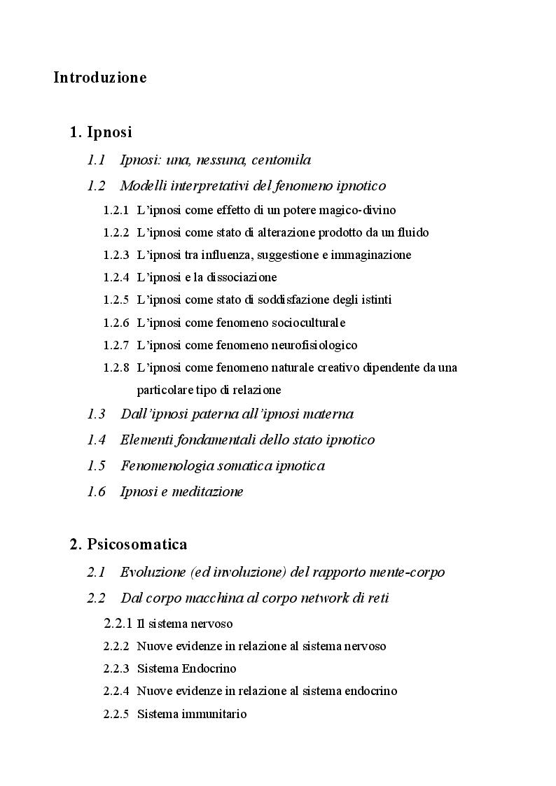 Indice della tesi: Ipnosi e processi psicosomatici, Pagina 1