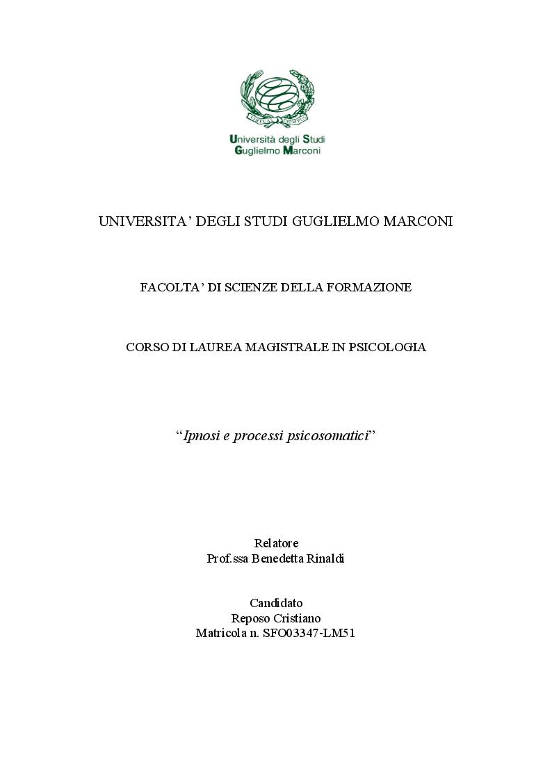Anteprima della tesi: Ipnosi e processi psicosomatici, Pagina 1