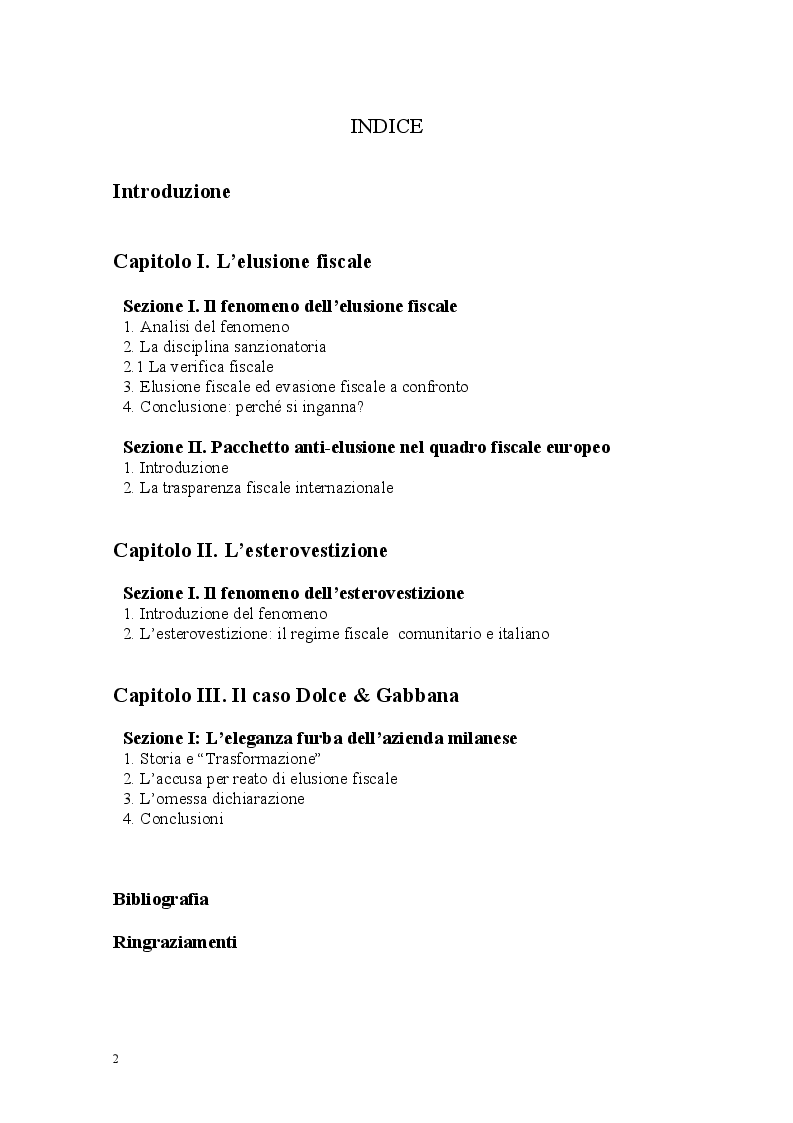 Indice della tesi: Il Transfer Pricing e il caso Dolce e Gabbana, Pagina 1