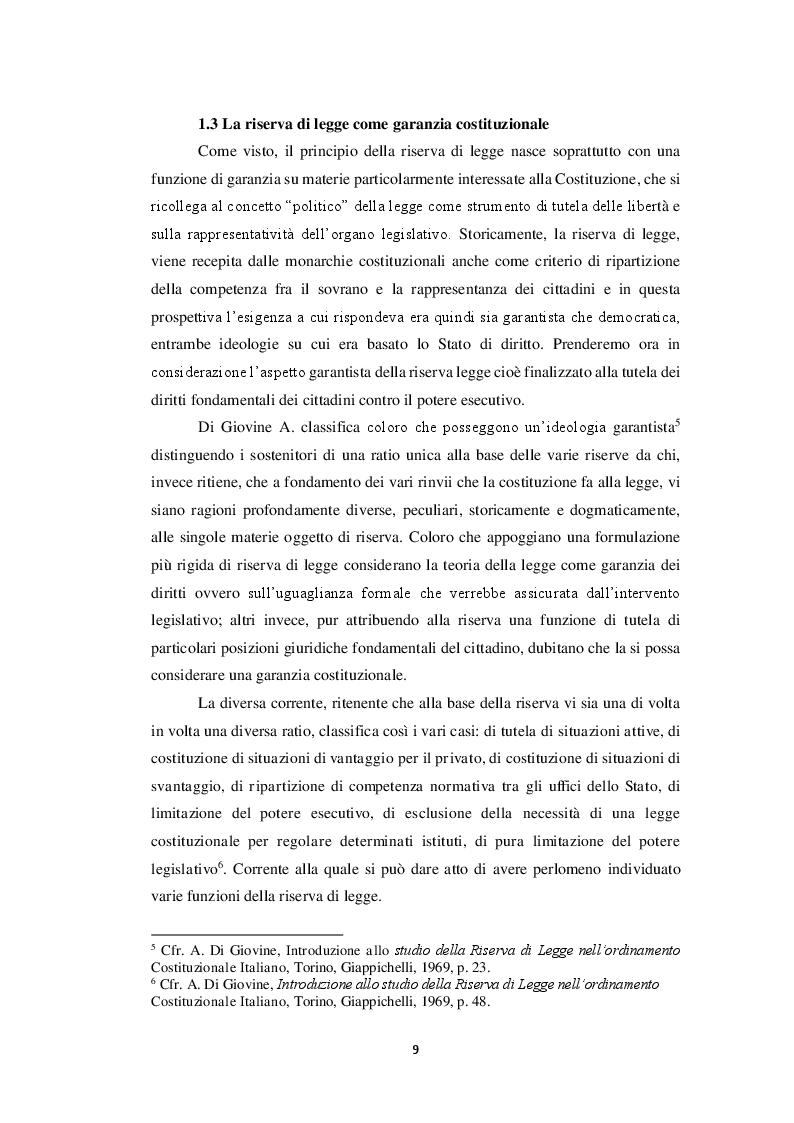 Estratto dalla tesi: La riserva di legge formale: tra garanzia costituzionale e strumento di controllo parlamentare