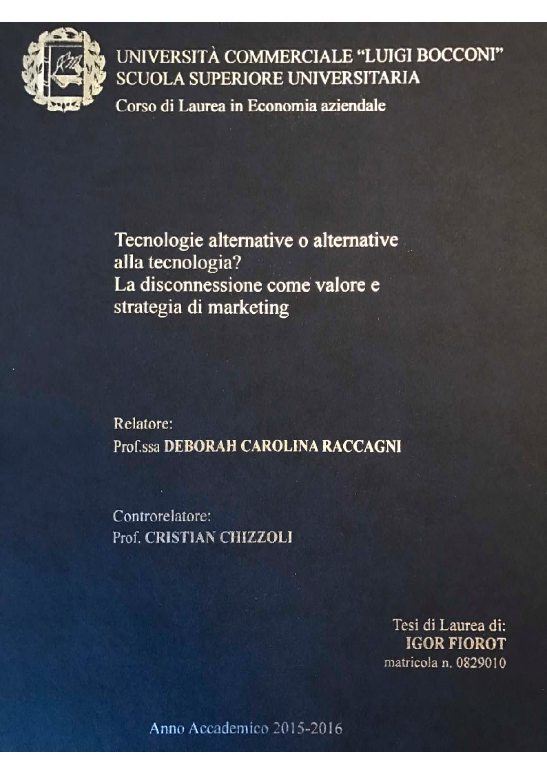 Anteprima della tesi: Tecnologie alternative o alternative alla tecnologia? La disconnessione come valore e strategia di marketing, Pagina 1