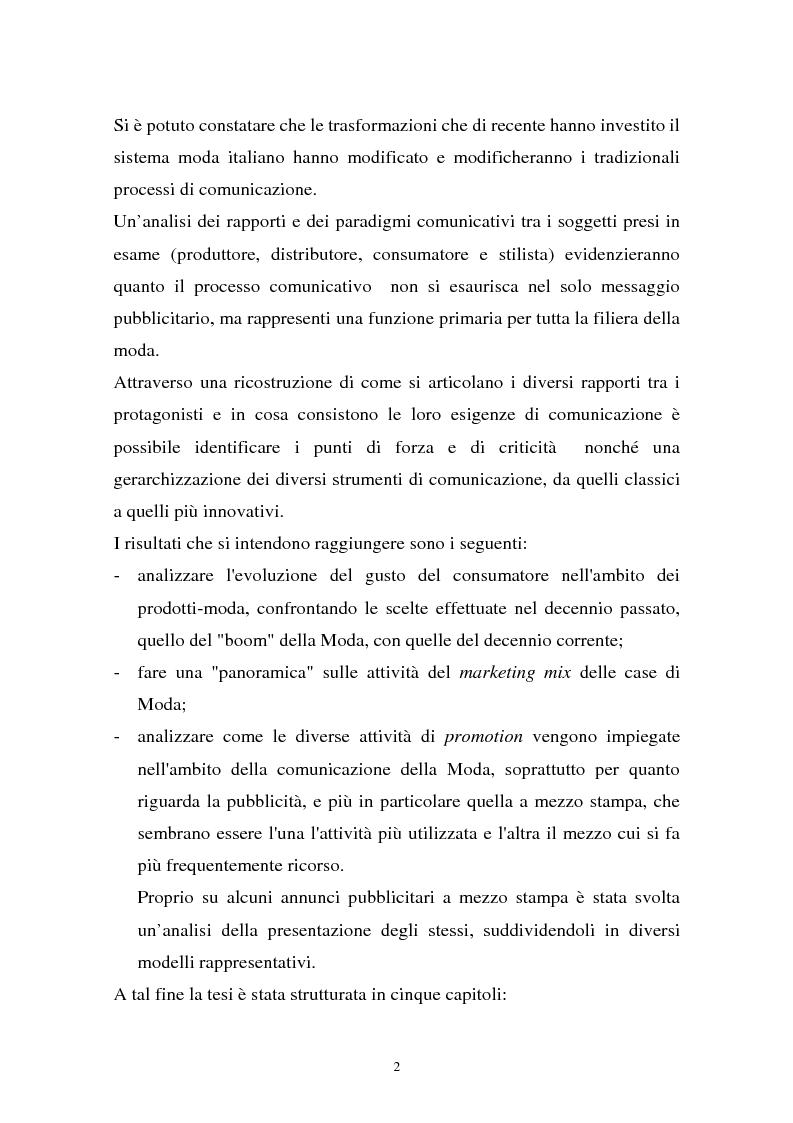 Anteprima della tesi: Il sistema della moda e la comunicazione: strumenti ed obiettivi, Pagina 2