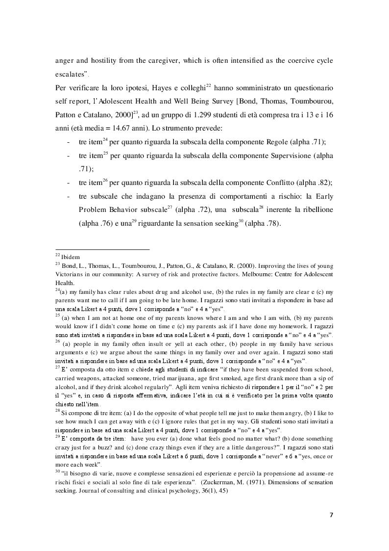 Estratto dalla tesi: Costrutti a confronto: parental monitoring, parental knowledge e consumo di sostanze