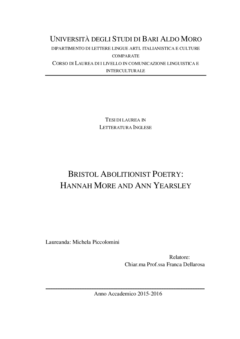 Anteprima della tesi: Bristol Abolitionist Poetry: Hannah More and Ann Yearsley, Pagina 1