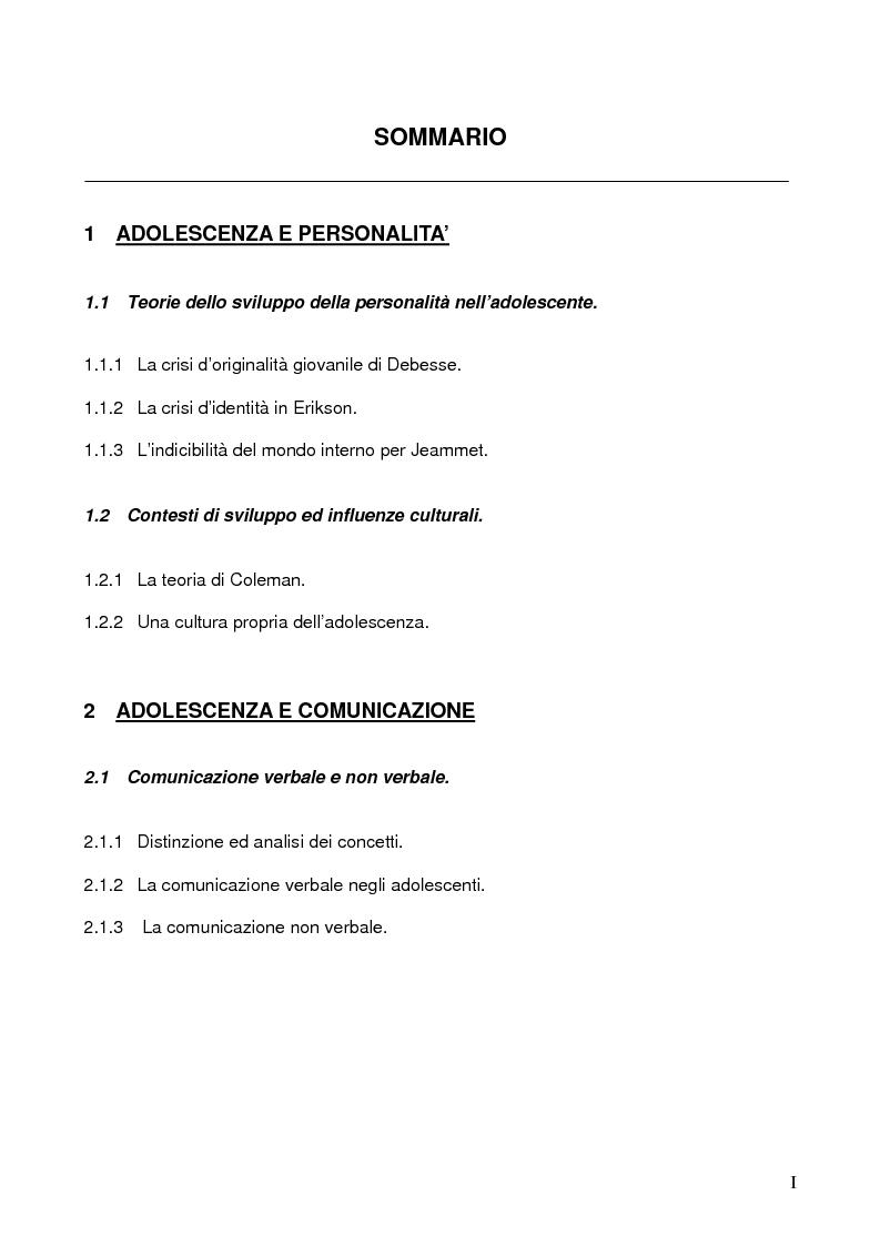 Indice della tesi: Stili comunicazionali e personalità degli adolescenti, Pagina 1