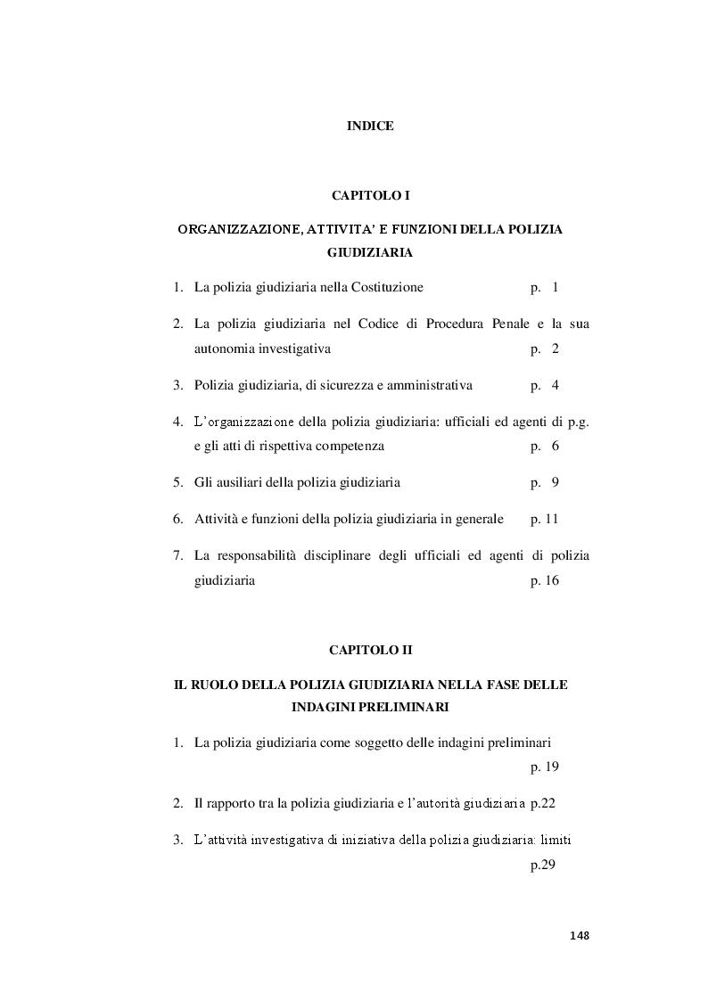 Indice della tesi: L'attività ad iniziativa della Polizia Giudiziaria prima dell'intervento del Pubblico Ministero, Pagina 1