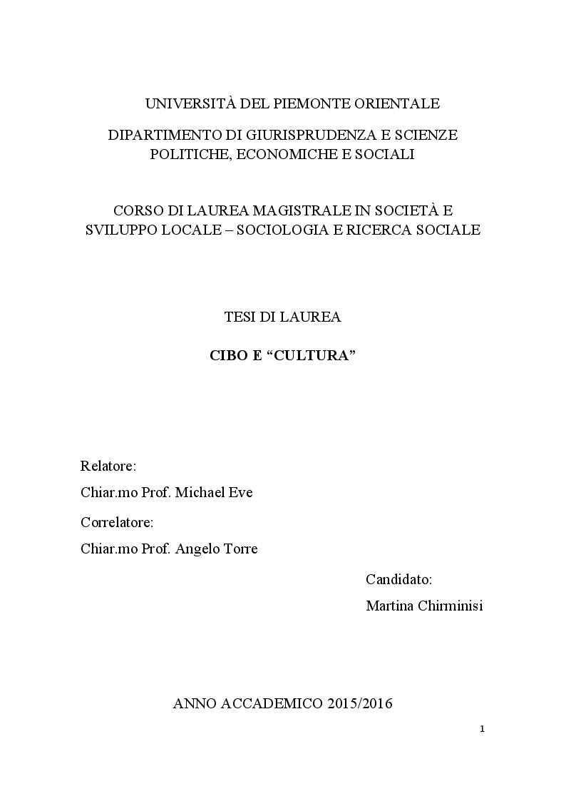Anteprima della tesi: Cibo e ''cultura'', Pagina 1