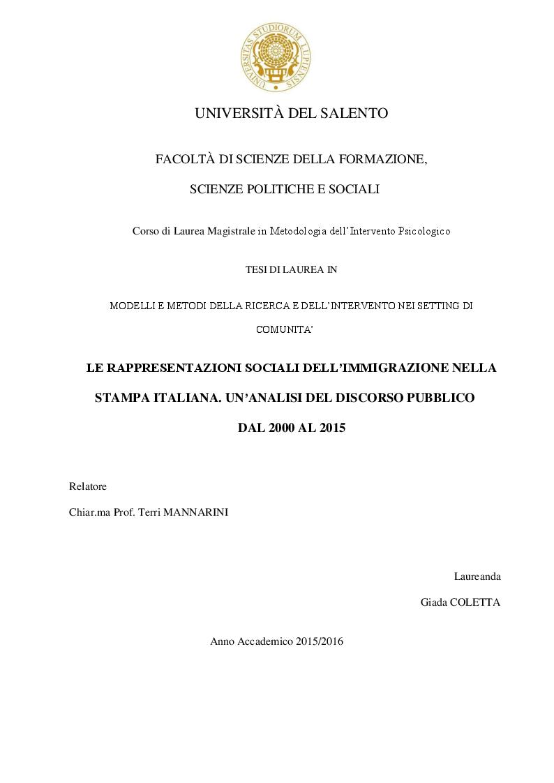 Anteprima della tesi: Le rappresentazioni sociali dell'immigrazione nella stampa italiana. Un'analisi del discorso pubblico dal 2000 al 2015, Pagina 1
