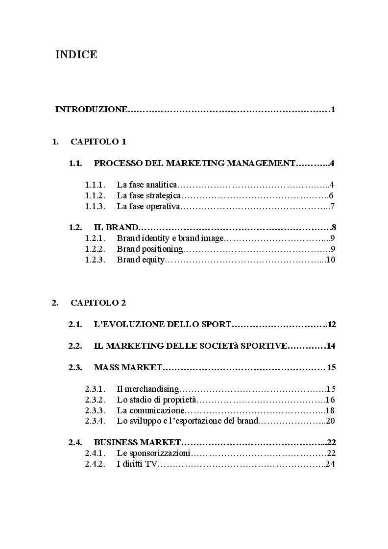 Indice della tesi: Da sport a impresa: il connubio calcio-marketing, Pagina 1