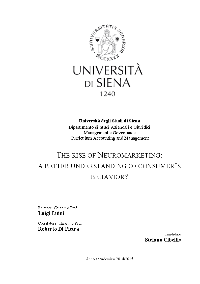 Anteprima della tesi: The rise of Neuromarketing: a better understanding of consumer's behavior?, Pagina 1
