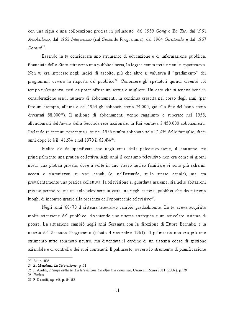 """Estratto dalla tesi: L'intrattenimento nel servizio pubblico: storia e analisi dei palinsesti televisivi dalla """"paleotelevisione"""" ad oggi"""