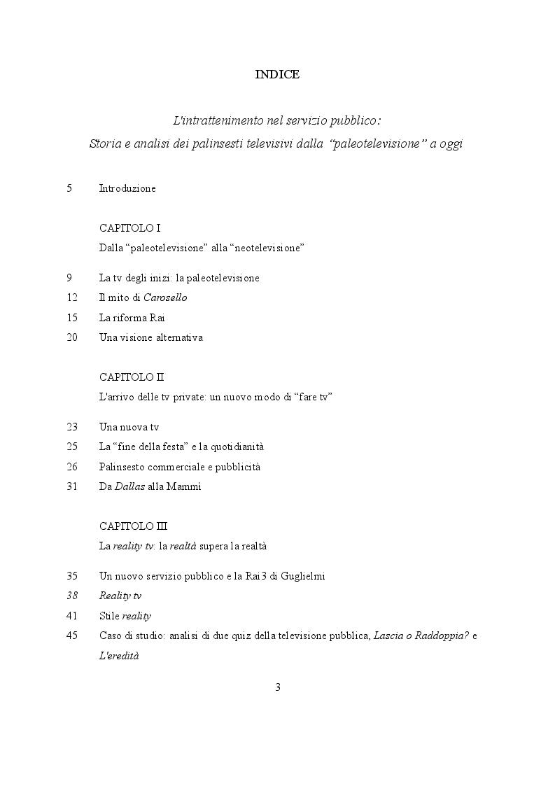 """Indice della tesi: L'intrattenimento nel servizio pubblico: storia e analisi dei palinsesti televisivi dalla """"paleotelevisione"""" ad oggi, Pagina 1"""