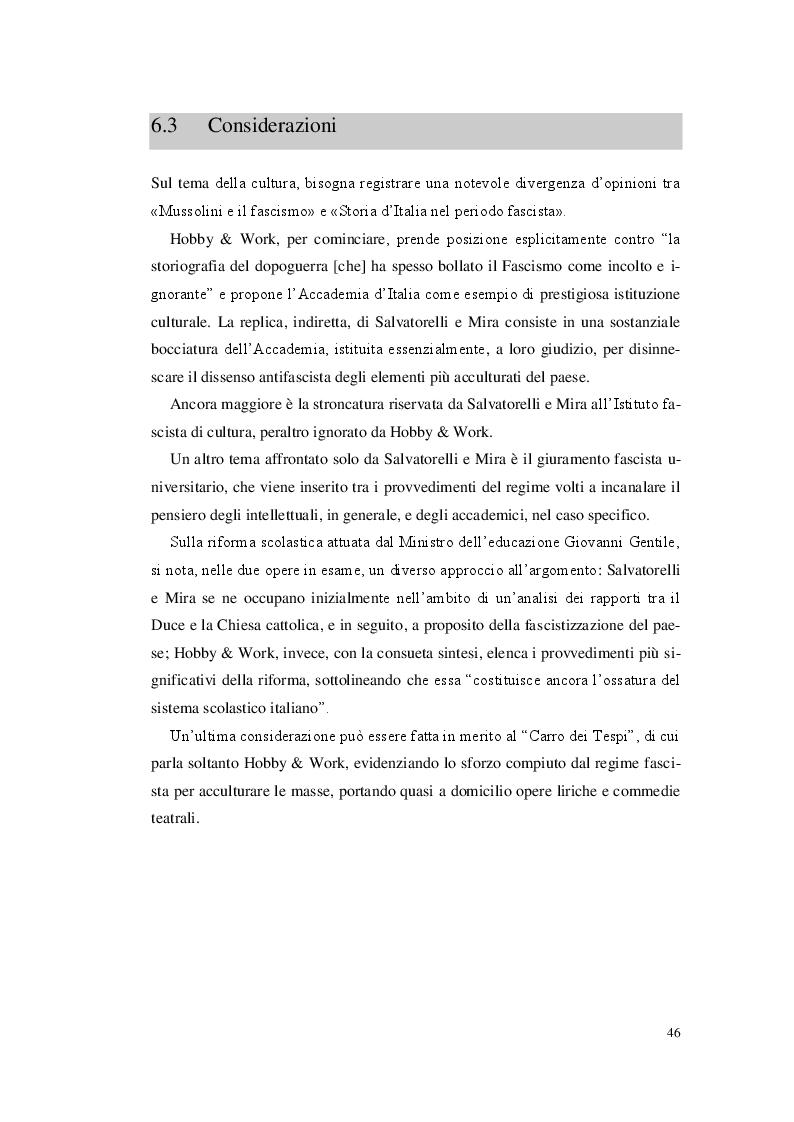 Estratto dalla tesi: Divulgazione e storiografia. Confronto tra «Mussolini e il fascismo», edito da Hobby & Work, e «Storia d'Italia nel periodo fascista», di Salvatorelli-Mira.