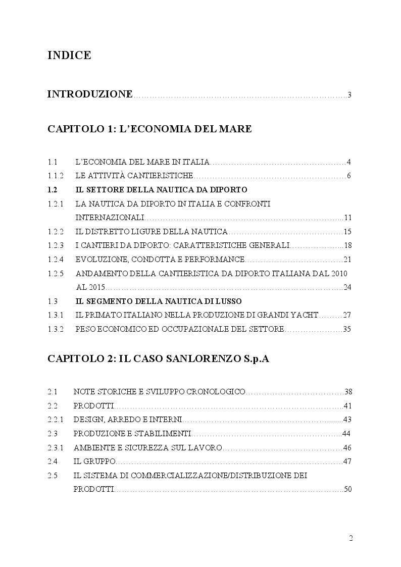 Indice della tesi: Il primato italiano della cantieristica da diporto: Il caso Sanlorenzo S.p.A., Pagina 1