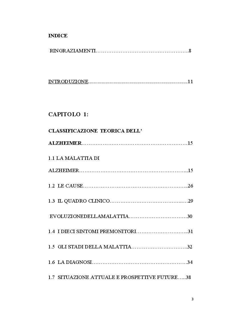 Indice della tesi: L'organizzazione di Strutture e di Percorsi,  nel complesso Setting Assistenziale  dei pazienti affetti da Alzheimer, Pagina 1