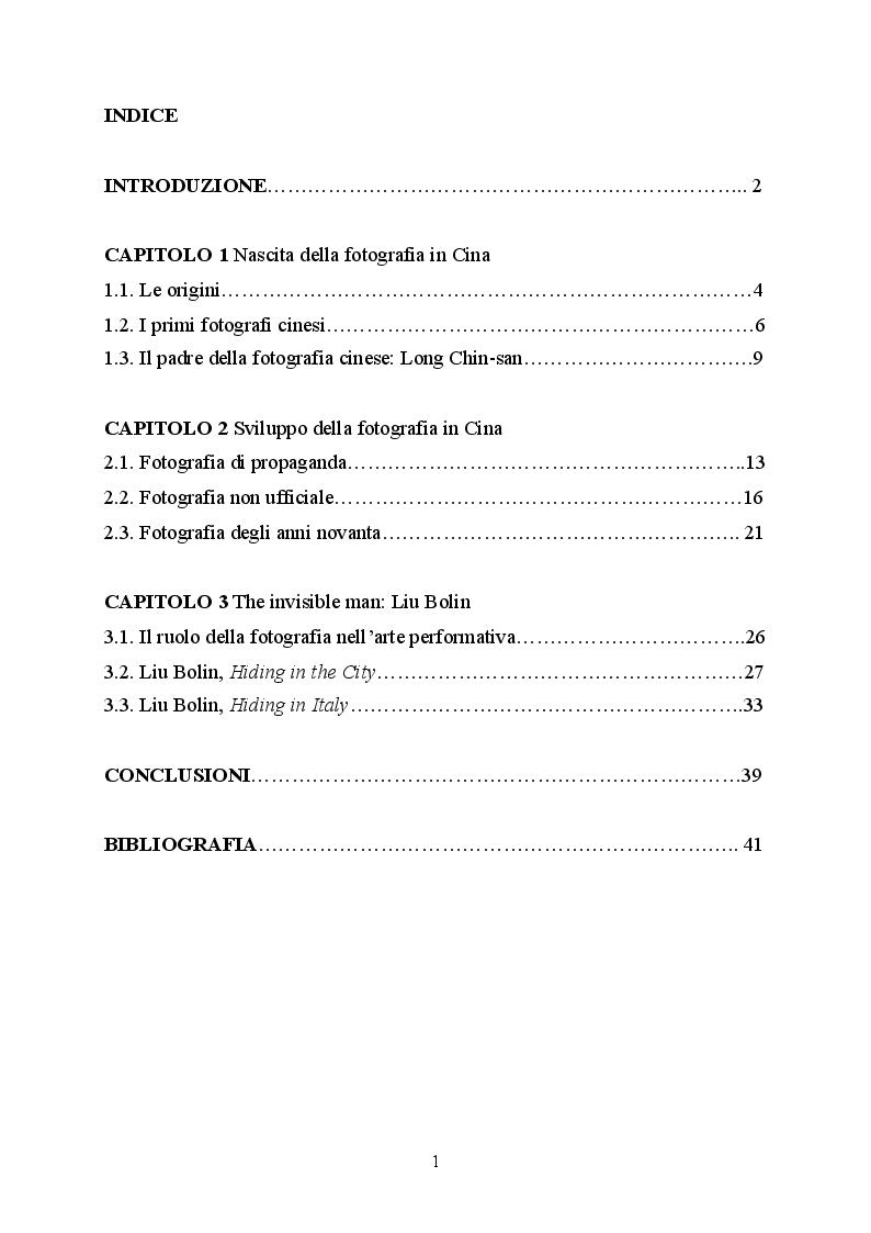 Indice della tesi: Nascita e sviluppo della fotografia in Cina, Pagina 1
