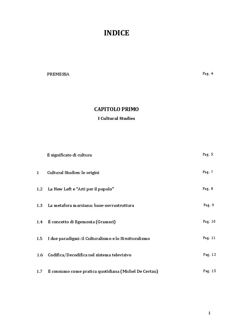 Indice della tesi: Cultural Studies e popular music: gli U2, Pagina 1