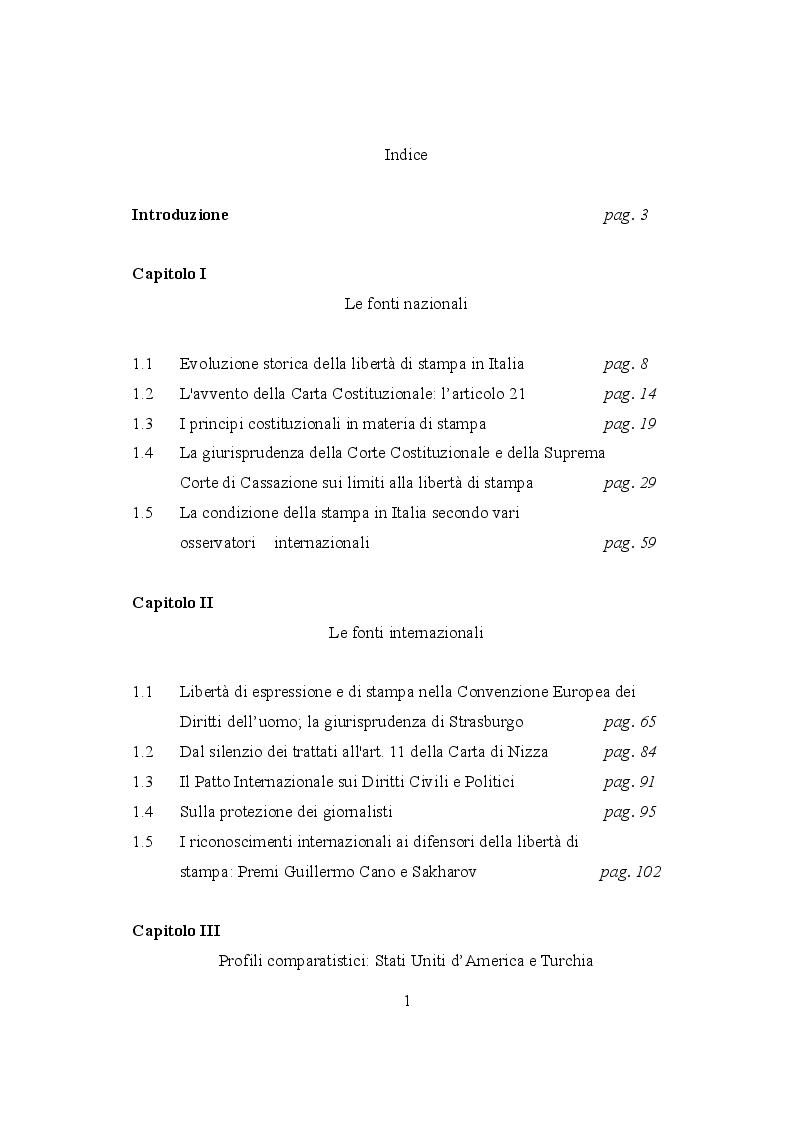Indice della tesi: La libertà di stampa tra repressione e tutela, Pagina 1