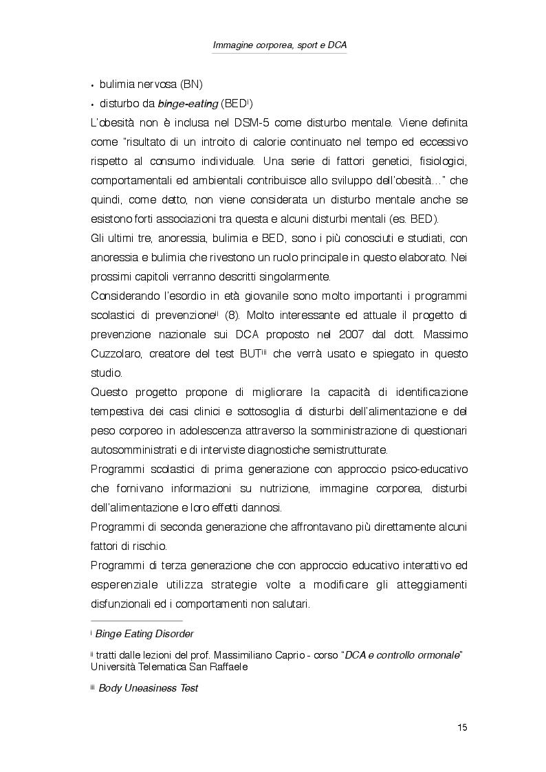 Estratto dalla tesi: Percezione dell'immagine corporea e sport in relazione ai fattori di rischio per lo sviluppo dei Disturbi del Comportamento Alimentare